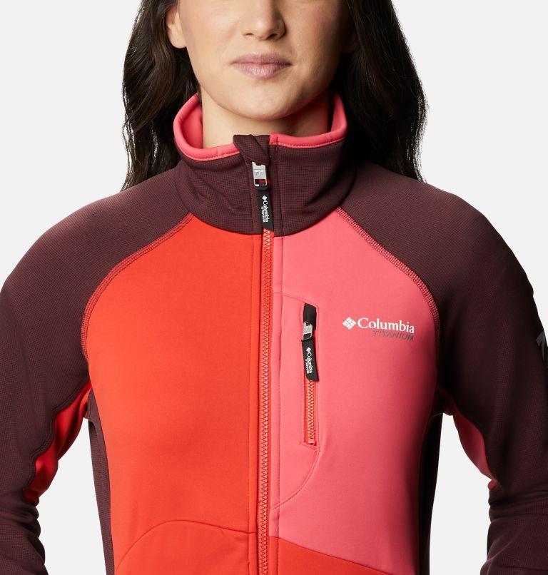 W Powder Chute™ Fleece Jacket | 671 | XS Women's Powder Chute Fleece Jacket, Malbec, Bright Geranium, Bold Orange, a2