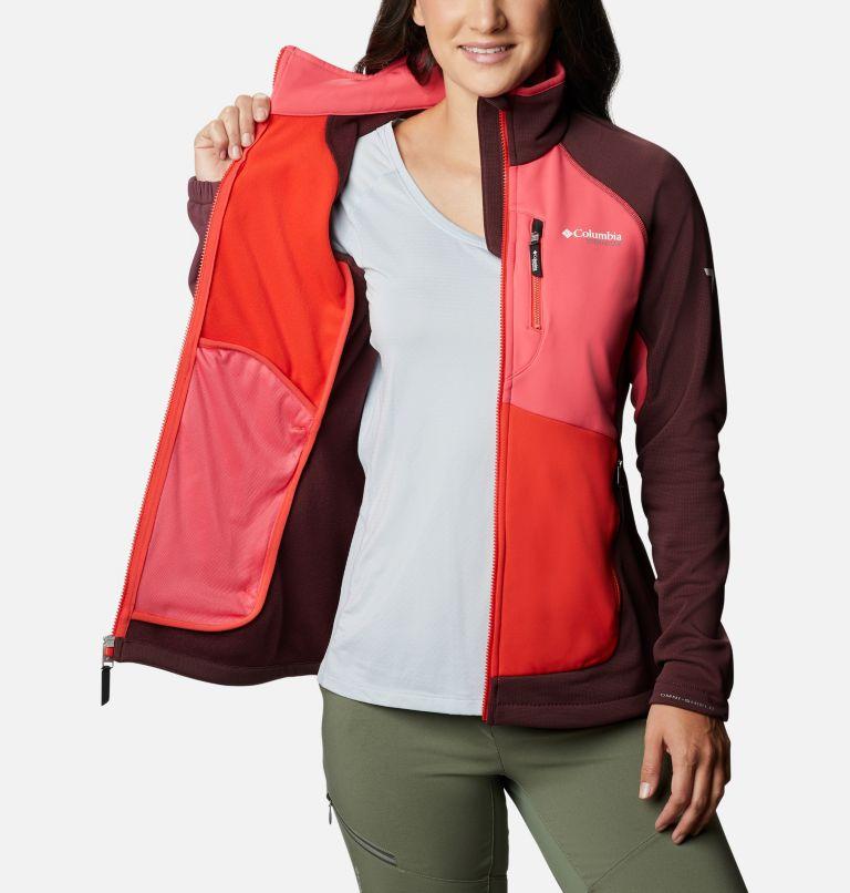 W Powder Chute™ Fleece Jacket | 671 | XS Women's Powder Chute Fleece Jacket, Malbec, Bright Geranium, Bold Orange, a3
