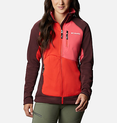Women's Powder Chute™ Fleece Jacket W Powder Chute™ Fleece Jacket | 671 | XS, Malbec, Bright Geranium, Bold Orange, front