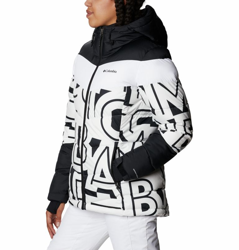 Abbott Peak™ Insulated Jacket | 100 | S Women's Abbott Peak Insulated Ski Jacket, White Typo Print, Black, a1