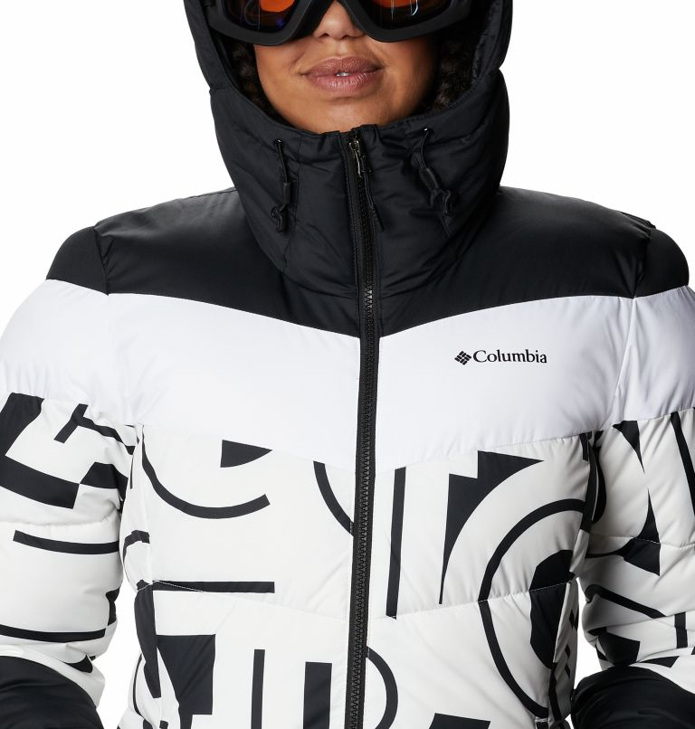 Abbott Peak™ Insulated Jacket | 100 | S Women's Abbott Peak Insulated Ski Jacket, White Typo Print, Black, a2