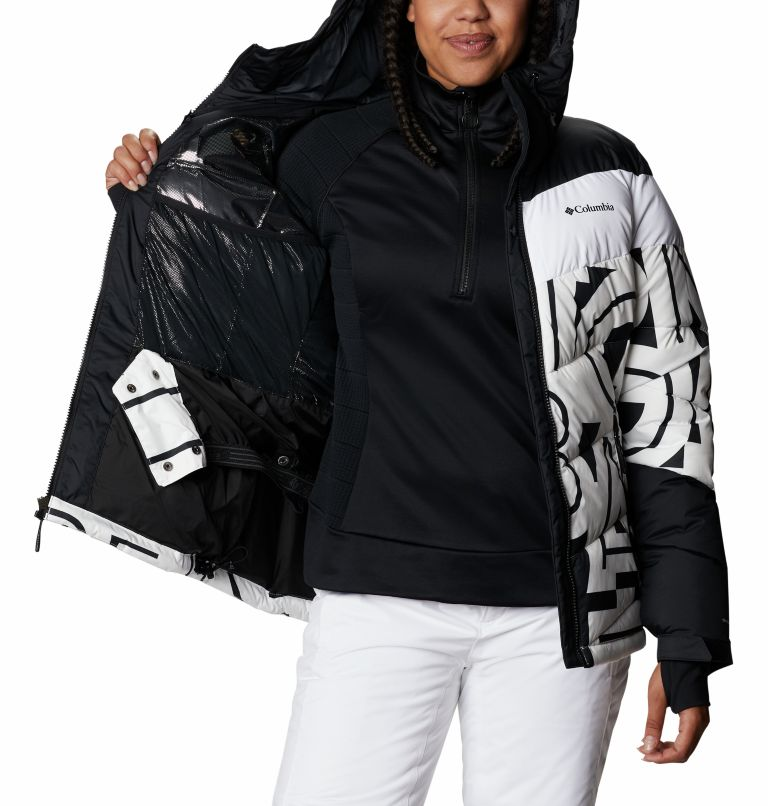 Abbott Peak™ Insulated Jacket | 100 | S Women's Abbott Peak Insulated Ski Jacket, White Typo Print, Black, a3