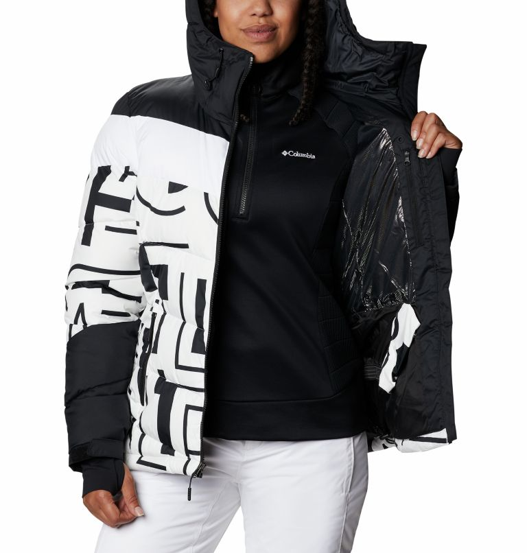 Abbott Peak™ Insulated Jacket | 100 | S Women's Abbott Peak Insulated Ski Jacket, White Typo Print, Black, a4