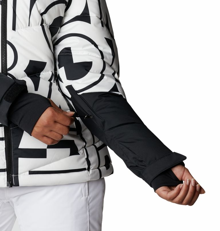 Abbott Peak™ Insulated Jacket | 100 | XS Women's Abbott Peak Insulated Ski Jacket, White Typo Print, Black, a5