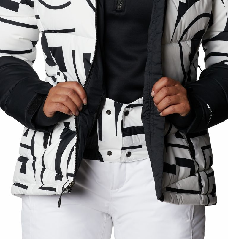 Abbott Peak™ Insulated Jacket | 100 | XS Women's Abbott Peak Insulated Ski Jacket, White Typo Print, Black, a7