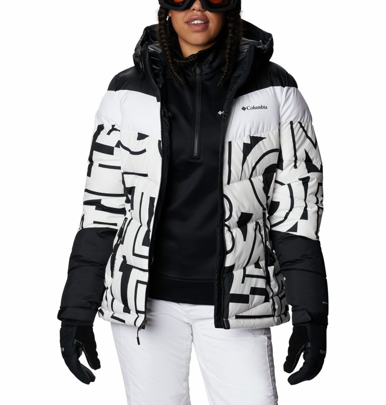 Abbott Peak™ Insulated Jacket | 100 | S Women's Abbott Peak Insulated Ski Jacket, White Typo Print, Black, a8