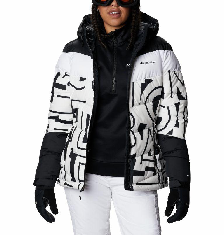 Abbott Peak™ Insulated Jacket | 100 | XS Women's Abbott Peak Insulated Ski Jacket, White Typo Print, Black, a8