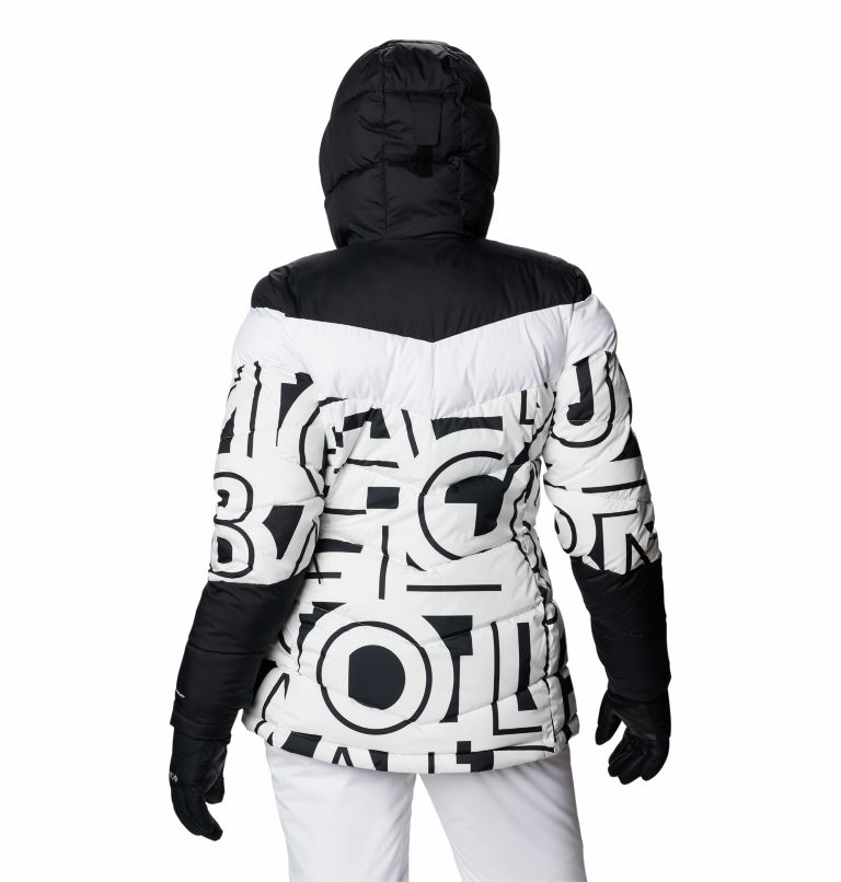 Abbott Peak™ Insulated Jacket | 100 | S Women's Abbott Peak Insulated Ski Jacket, White Typo Print, Black, back