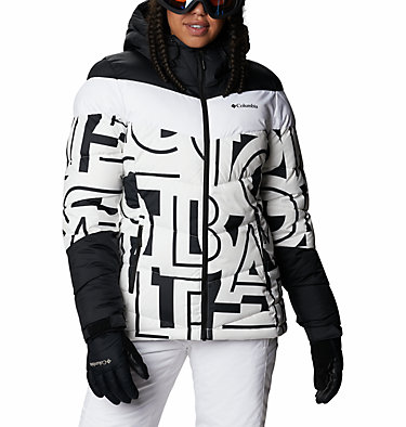 Women's Abbott Peak Insulated Jacket Abbott Peak™ Insulated Jacket | 021 | M, White Typo Print, Black, front