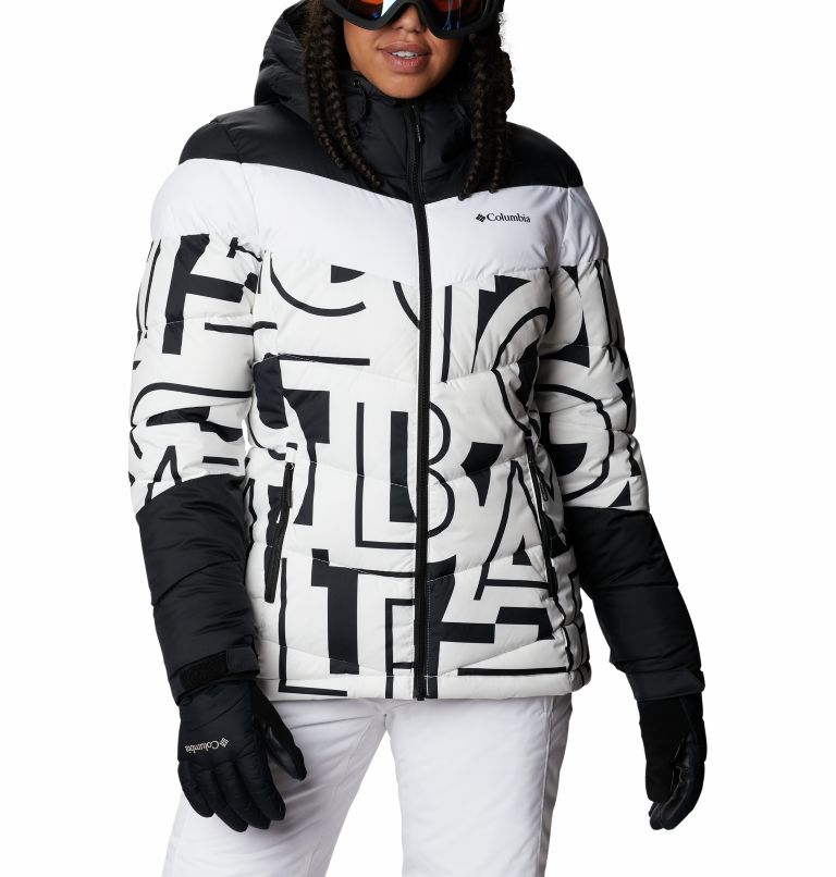 Abbott Peak™ Insulated Jacket | 100 | S Women's Abbott Peak Insulated Ski Jacket, White Typo Print, Black, front