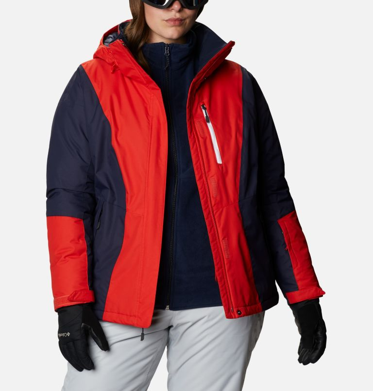 Last Tracks™ Insulated Jacket | 843 | 1X Women's Last Tracks™ Insulated Jacket - Plus Size, Bold Orange, Dark Nocturnal, a3