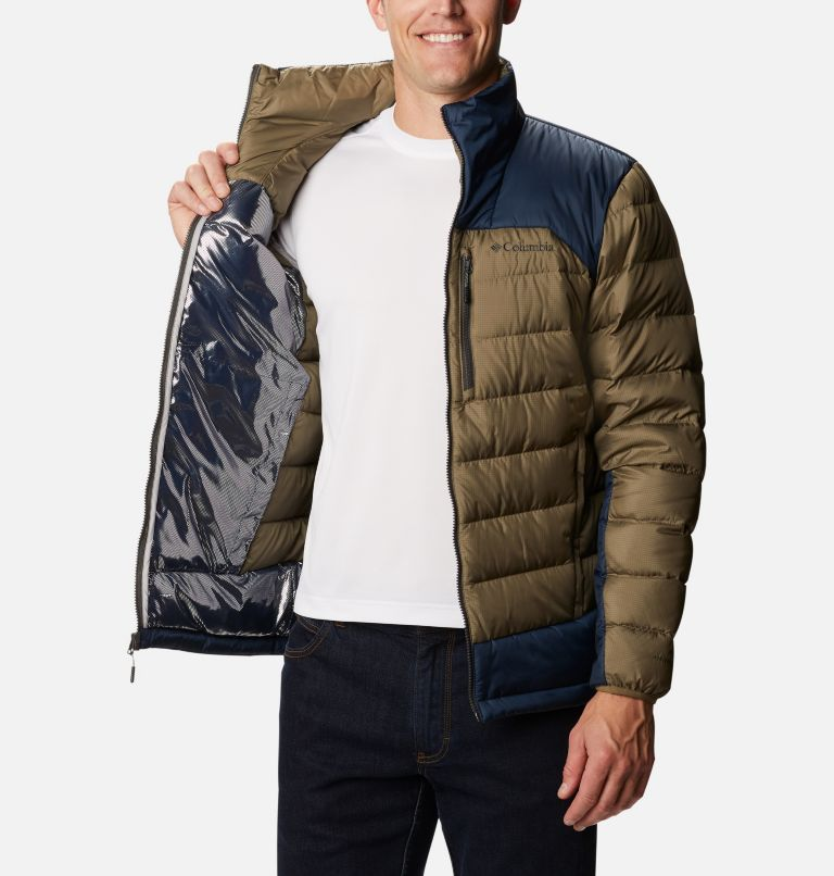 Autumn Park™ Down Jacket | 397 | S Men's Autumn Park Down Jacket, Stone Green, Collegiate Navy, a3