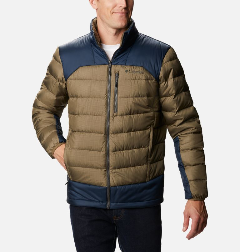 Autumn Park™ Down Jacket | 397 | S Men's Autumn Park Down Jacket, Stone Green, Collegiate Navy, front