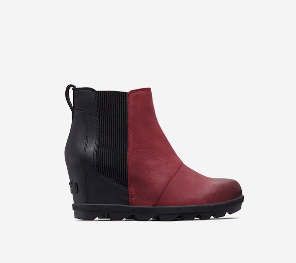 Profile view of a Rich Wine and black Joan Wedge Chelsea boot
