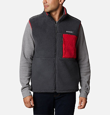 Men's Mountainside™ Sherpa Fleece Vest Mountainside™ Vest | 271 | M, Shark, Mountain Red, front