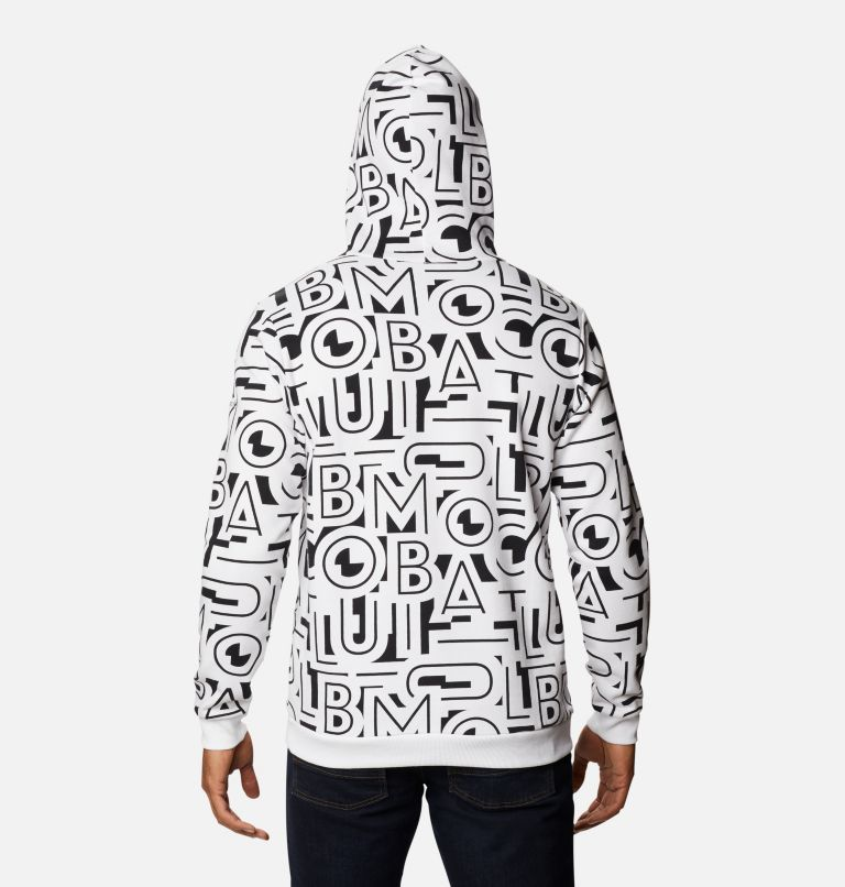 M Columbia Logo™ Printed Hoodie | 010 | 2X Men's Columbia Logo™ Printed Hoodie - Big, Black, White Typo, back