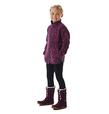 Girls' Disney Anna Full Zip Fleece Anna Full Zip Fleece | 562 | L, Purple Dahlia Anna Ornate, 3/4 front