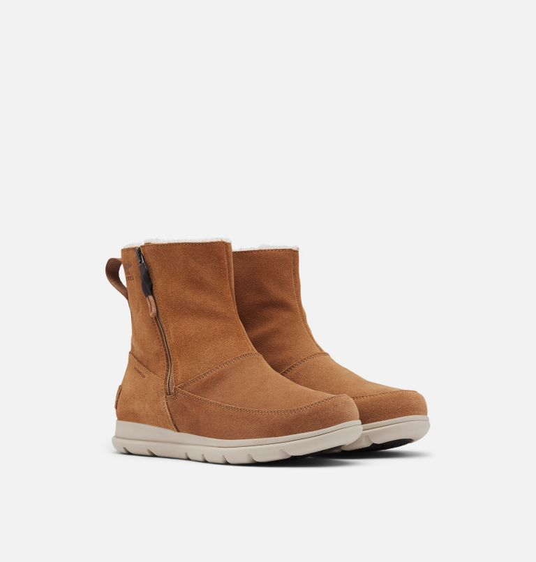SOREL™ EXPLORER ZIP | 224 | 5 Women's Sorel™ Explorer Zip Boot, Camel Brown, 3/4 front