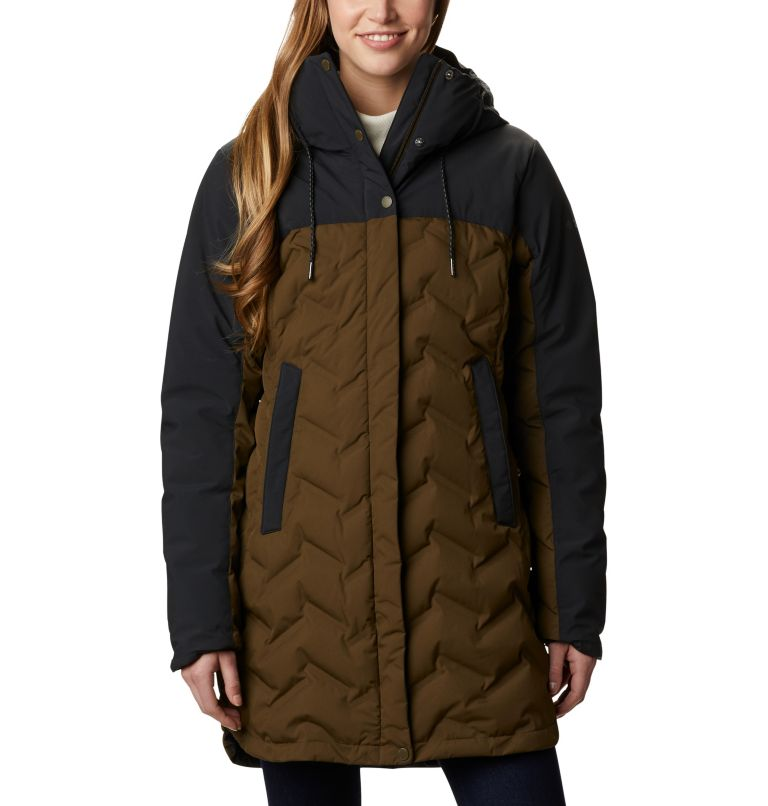 Mountain Croo™ Long Down Jacket | 319 | S Doudoune longue Mountain Croo femme, Olive Green, Black, front