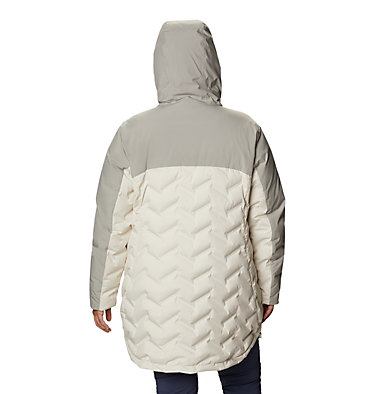 Women's Mountain Croo™ Long Down Jacket - Plus Size Mountain Croo™ Long Down Jacket | 010 | 2X, Chalk, Flint Grey, back