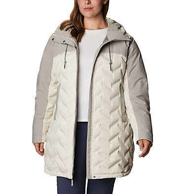 Women's Mountain Croo™ Long Down Jacket - Plus Size Mountain Croo™ Long Down Jacket | 010 | 2X, Chalk, Flint Grey, front