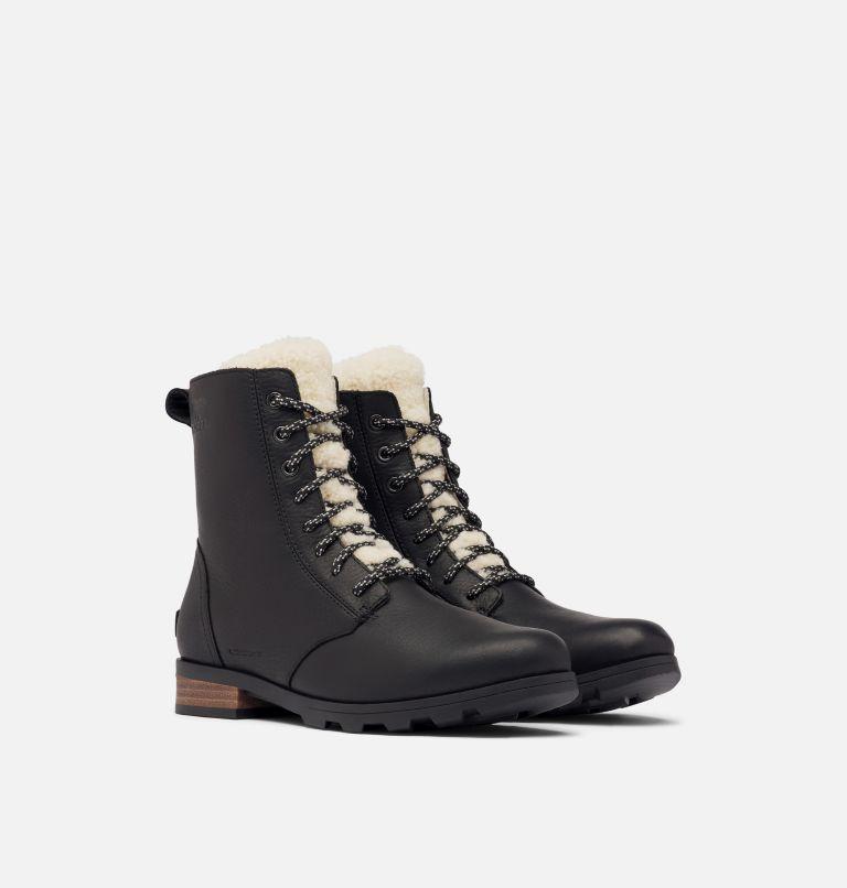 EMELIE™ SHORT LACE COZY | 010 | 7 Women's Emelie™ Short Lace Cozy Boot, Black, 3/4 front