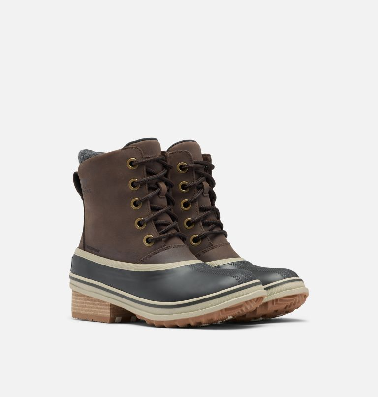 SLIMPACK™ III LACE | 205 | 10.5 Womens Slimpack™ III Lace Duck Boot, Blackened Brown, 3/4 front