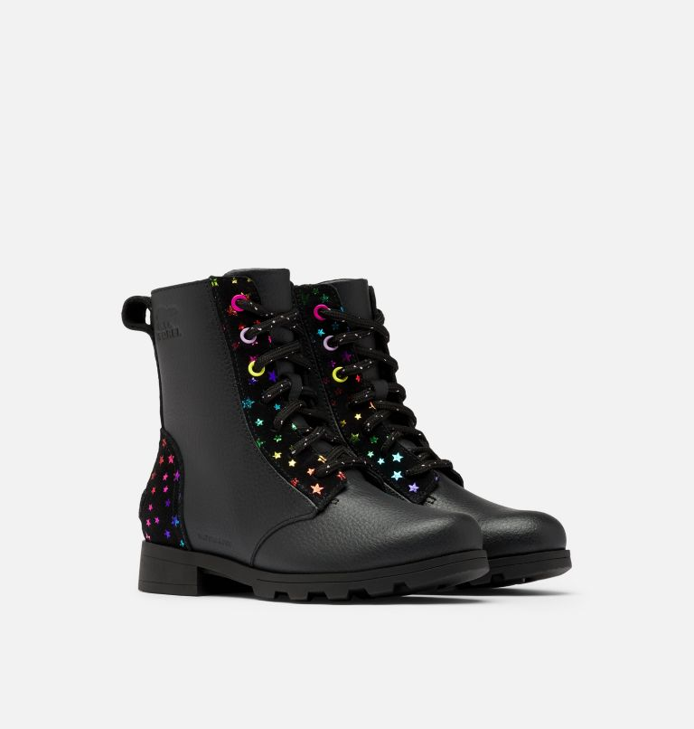 YOUTH EMELIE™ SHORT LACE   010   3 Youth Emelie™ Short Lace Boot, Black, 3/4 front