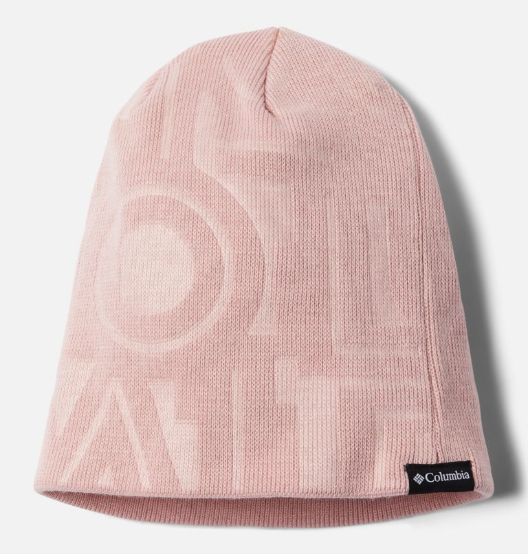 City Trek™ Debossed Beanie | 618 | O/S City Trek™ Debossed Beanie, Mineral Pink Typo Print, front
