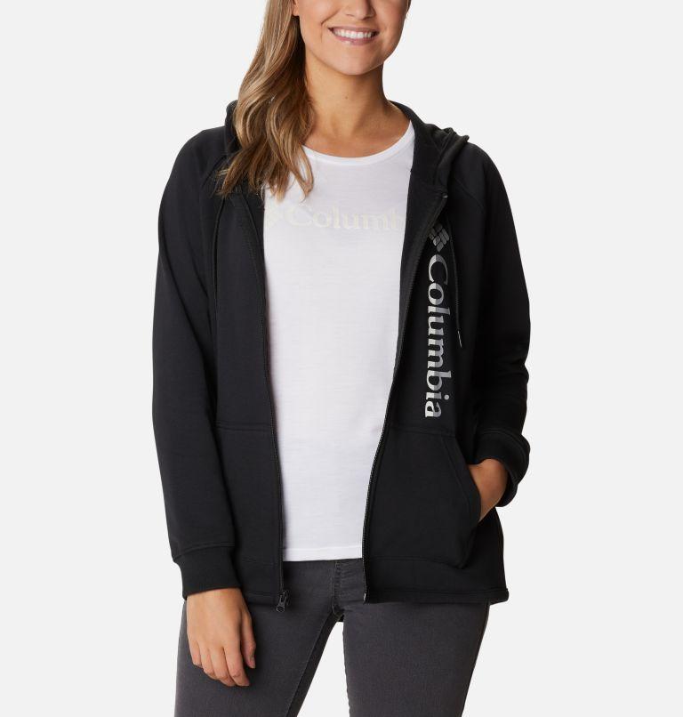 Columbia™ Logo French Terry Full Zip | 011 | M Women's Columbia™ Logo French Terry Full Zip Hoodie, Black, Split Logo, a3