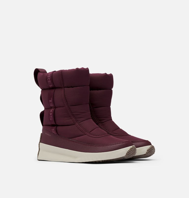 OUT N ABOUT™ PUFFY MID | 543 | 6.5 Women's Out N About™ Puffy Mid Boot, Epic Plum, 3/4 front