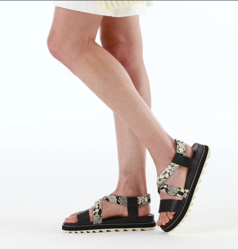 ROAMING™ CRISS CROSS SANDAL | 010 | 7.5 Womens Roaming™ Criss Cross Sandal, Black, White, video