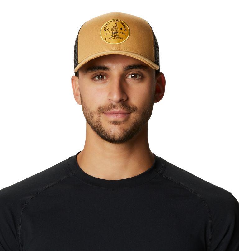 Secret Stash Pt.3™ Trucker Hat   255   O/S Secret Stash Pt.3™ Unisex Trucker Hat, Olive Gold, front