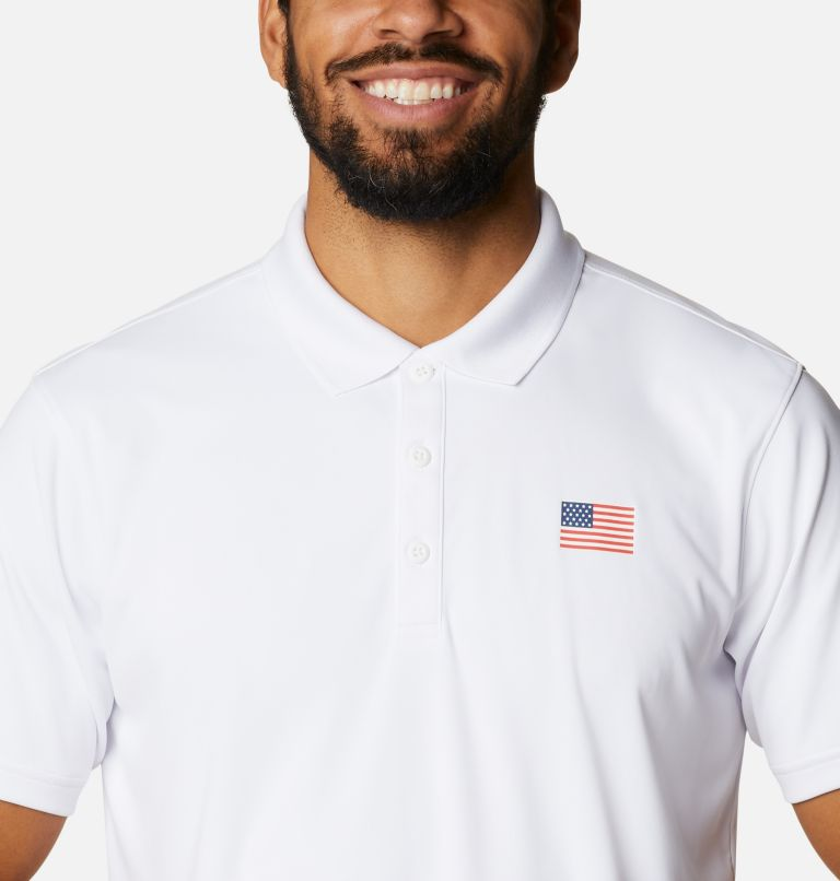 Terminal Tackle™ Flag Polo   100   S Men's PFG Terminal Tackle™ Flag Polo, White, US Flag, a2