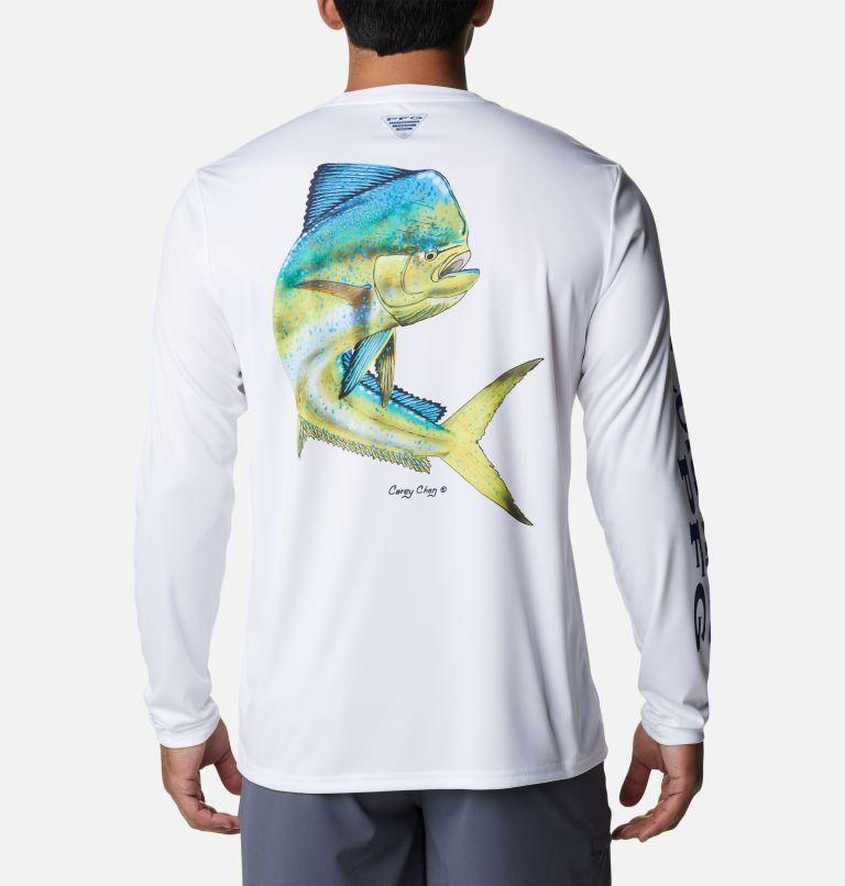 Terminal Tackle PFG™ Carey Chen LS   103   S Men's PFG Terminal Tackle™ Carey Chen Long Sleeve Shirt, White, Dorado, front