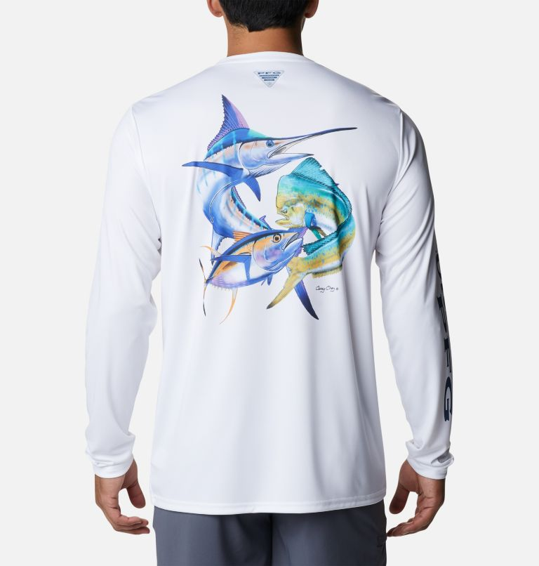 Terminal Tackle PFG™ Carey Chen LS | 105 | L Men's PFG Terminal Tackle™ Carey Chen Long Sleeve Shirt, White, Offshore Slam, front