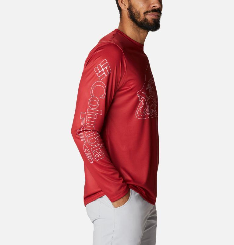 Terminal Tackle PFG™ Running Line LS | 696 | XL Men's PFG Terminal Tackle™ Running Line Long Sleeve Shirt, Red Spark, White Bass, a1