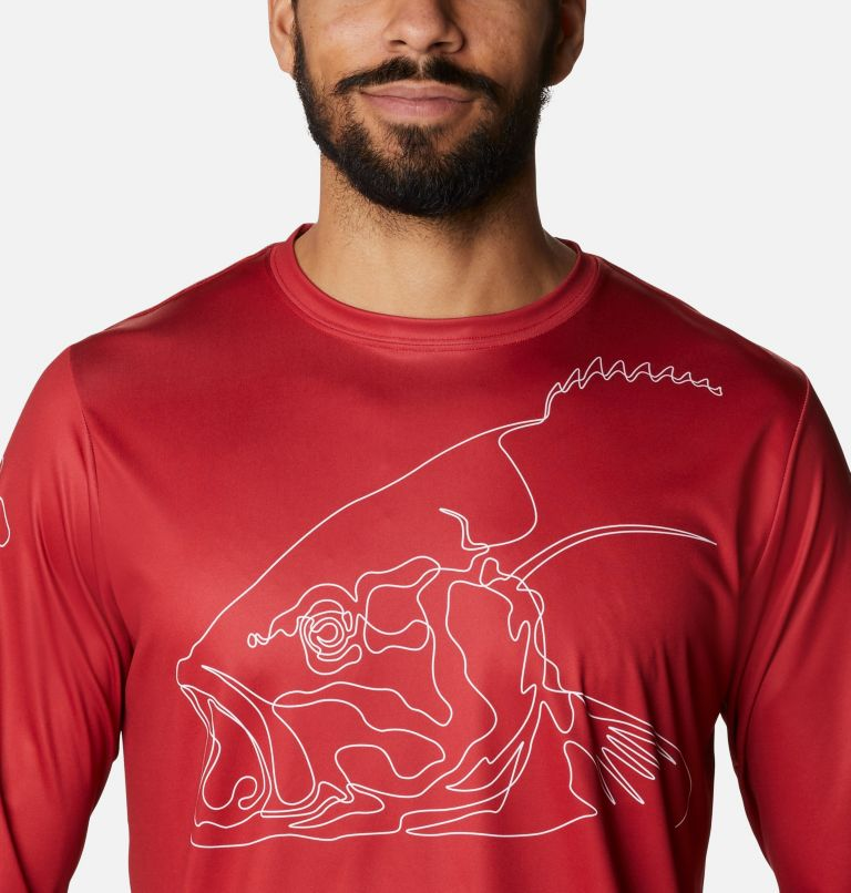 Terminal Tackle PFG™ Running Line LS   696   S Men's PFG Terminal Tackle™ Running Line Long Sleeve Shirt, Red Spark, White Bass, a2