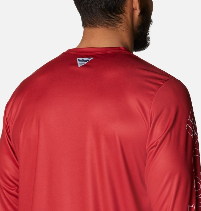 Terminal Tackle PFG™ Running Line LS   696   S Men's PFG Terminal Tackle™ Running Line Long Sleeve Shirt, Red Spark, White Bass, a3