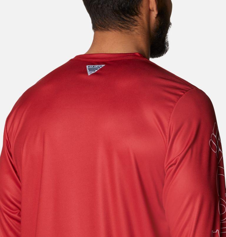 Terminal Tackle PFG™ Running Line LS | 696 | XL Men's PFG Terminal Tackle™ Running Line Long Sleeve Shirt, Red Spark, White Bass, a3