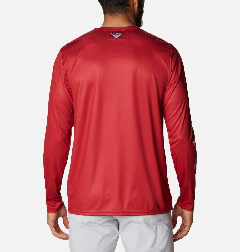 Terminal Tackle PFG™ Running Line LS   696   S Men's PFG Terminal Tackle™ Running Line Long Sleeve Shirt, Red Spark, White Bass, back