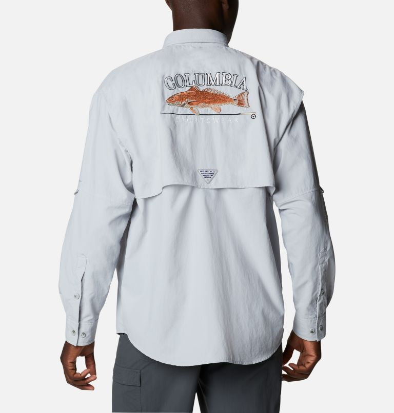 Bahama™ ICON LS Shirt | 019 | L Men's Bahama™ Icon Long Sleeve Shirt, Cool Grey, Redfish Graphic, front