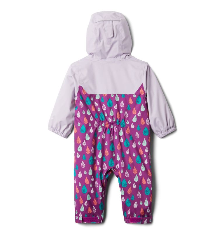 Critter Jitters™ II Rain Suit | 621 | 3/6 Infant Critter Jitters II Rain Suit, Berry Jam Raindrop, Pale Lilac, back