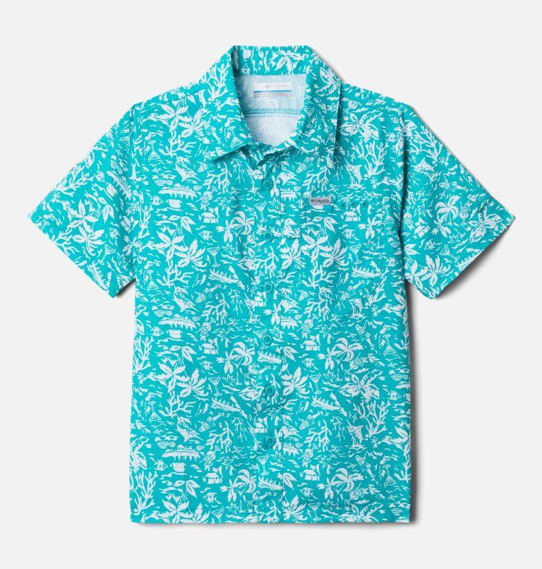 Slack Tide™ Short Sleeve Camp Shirt   360   L Boys' PFG Slack Tide™ Short Sleeve Camp Shirt, Tropic Water Kona Youth, front
