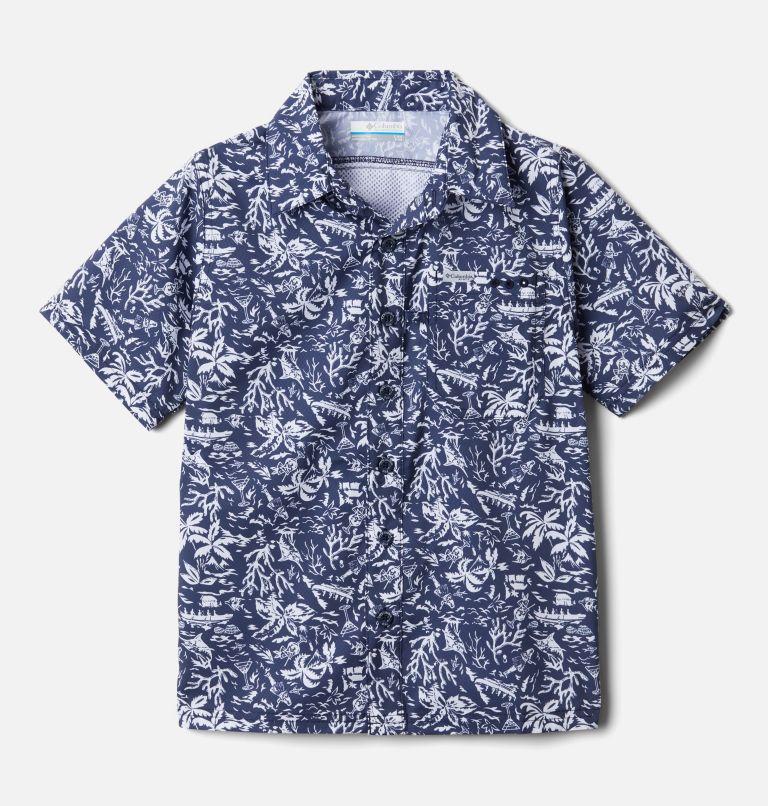 Slack Tide™ Short Sleeve Camp Shirt | 465 | XS Boys' PFG Slack Tide™ Short Sleeve Camp Shirt, Collegiate Navy Kona Youth, front