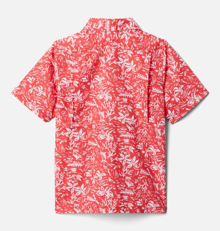 Slack Tide™ Short Sleeve Camp Shirt   696   XS Boys' PFG Slack Tide™ Short Sleeve Camp Shirt, Red Spark Kona Youth, back