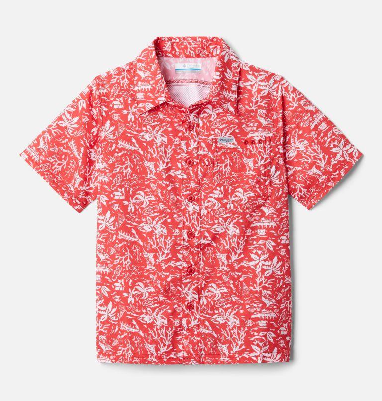 Slack Tide™ Short Sleeve Camp Shirt   696   XS Boys' PFG Slack Tide™ Short Sleeve Camp Shirt, Red Spark Kona Youth, front