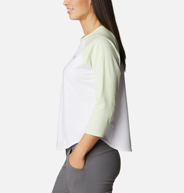 Sun Trek™ 3/4 Sleeve Tee | 100 | XL Women's Sun Trek™ Three-Quarter Sleeve T-Shirt, White, Light Lime, Stacked Brand Graphic, a1