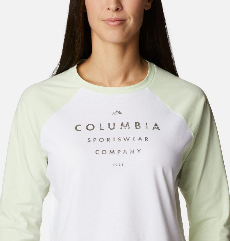Sun Trek™ 3/4 Sleeve Tee | 100 | XL Women's Sun Trek™ Three-Quarter Sleeve T-Shirt, White, Light Lime, Stacked Brand Graphic, a2