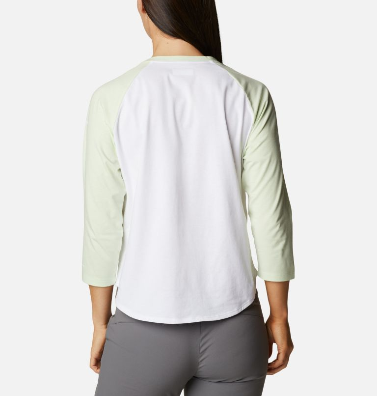 Sun Trek™ 3/4 Sleeve Tee | 100 | XL Women's Sun Trek™ Three-Quarter Sleeve T-Shirt, White, Light Lime, Stacked Brand Graphic, back